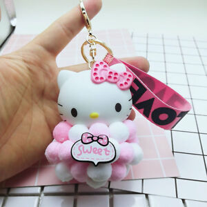 6e00fa6d43 Details about Pink Hello Kitty Cat Key Chain Keyring Plush Fluffy Ball Car  Bag Pendant Bell