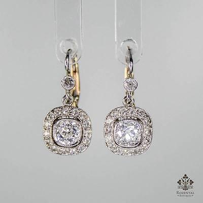 ANTIQUE ART DECO PLATINUM DIAMOND EARRINGS