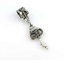 Antique Silver Plated Owl Key European Charm Dangle Bead 33MM LIMITED