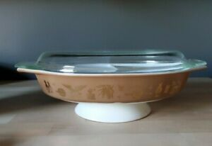 Vintage Pyrex Federal Americana Oval Divided Dish w/ Lid -  1 1/2 Quart