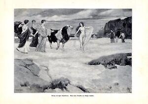 Europa & Gespielinnen XL Kunstdruck 1904 Walter Geffcken weiblicher Akt Stier +