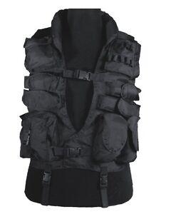 Einsatzweste Tactical Weste mit Kunstlederbesatz Ledernacken schwarz