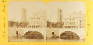 Francia Parigi Théâtre Da La Ville Lirica, Foto Stereo Vintage Albumina Ca 1870