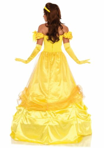 Belle The Beauty Dress Yellow Long Satin Ball Gown With Matching Headpiece