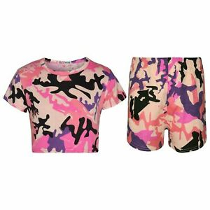 Infantil Blusas Cortas Amp Pantalones Cortos Camuflaje Bebe Rosa Moda Verano