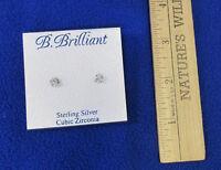 B Brilliant Stud Earrings Sterling Silver Cubic Zirconia Stones Sparkle