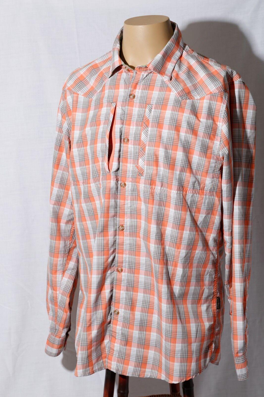 Orvis Trout Bum Mens Plaid Western Long Sleeve Camp Shirt M
