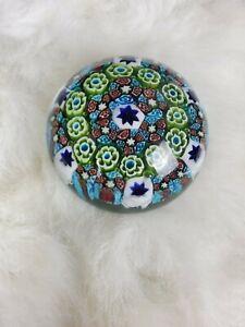 Millefiori-Art-Glass-Paperweight-3-034-Multicolor-Bohemian-Czech-or-murano-Italian