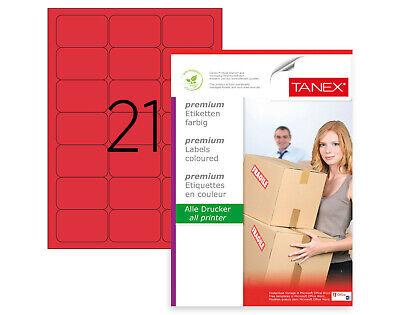 525 Etiketten 25 Bl. TANEX TW-2021 Universal//Adressetikett 63,5 x 38,1 mm grün