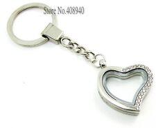 30mm Alloy Silver Rhinestones Heart Shape Floating Charm Memory Locket Key Chain