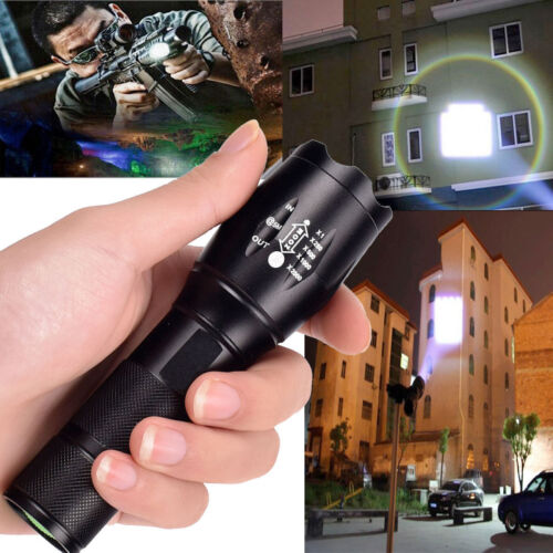 UK 50000LM Tactical Light Camping T6 LED Flashlight Torch Zoomable+18650+Charger