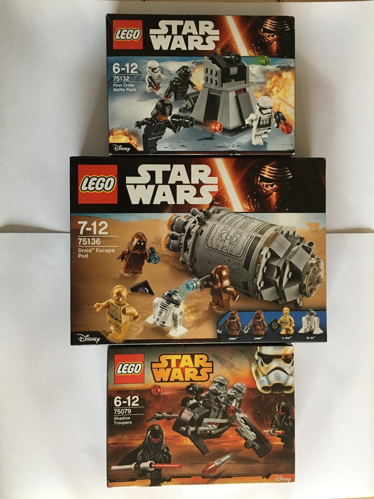 3 BOITES LEGO STAR WARS 75132 75079 75136 NEUF