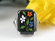 Victorian Pietra Dura Mosaic Floral Black Onyx Ring 18K Filigree White Gold