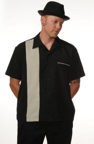 Rockabilly Shirt-noir bowling shirt-homme 1950 S Style Panneau Chemise XS ou XXXL