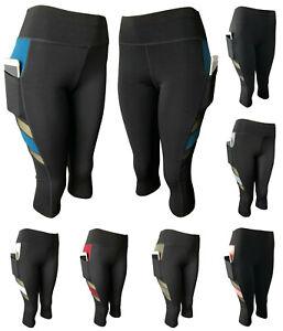 Women-Gym-Yoga-Workout-Active-Compression-Capri-Leggings-Pants-With-2-Pockets