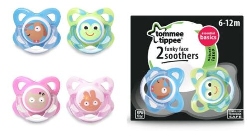 Tommee Tippee Funky Face Latex Soothers 6-12m