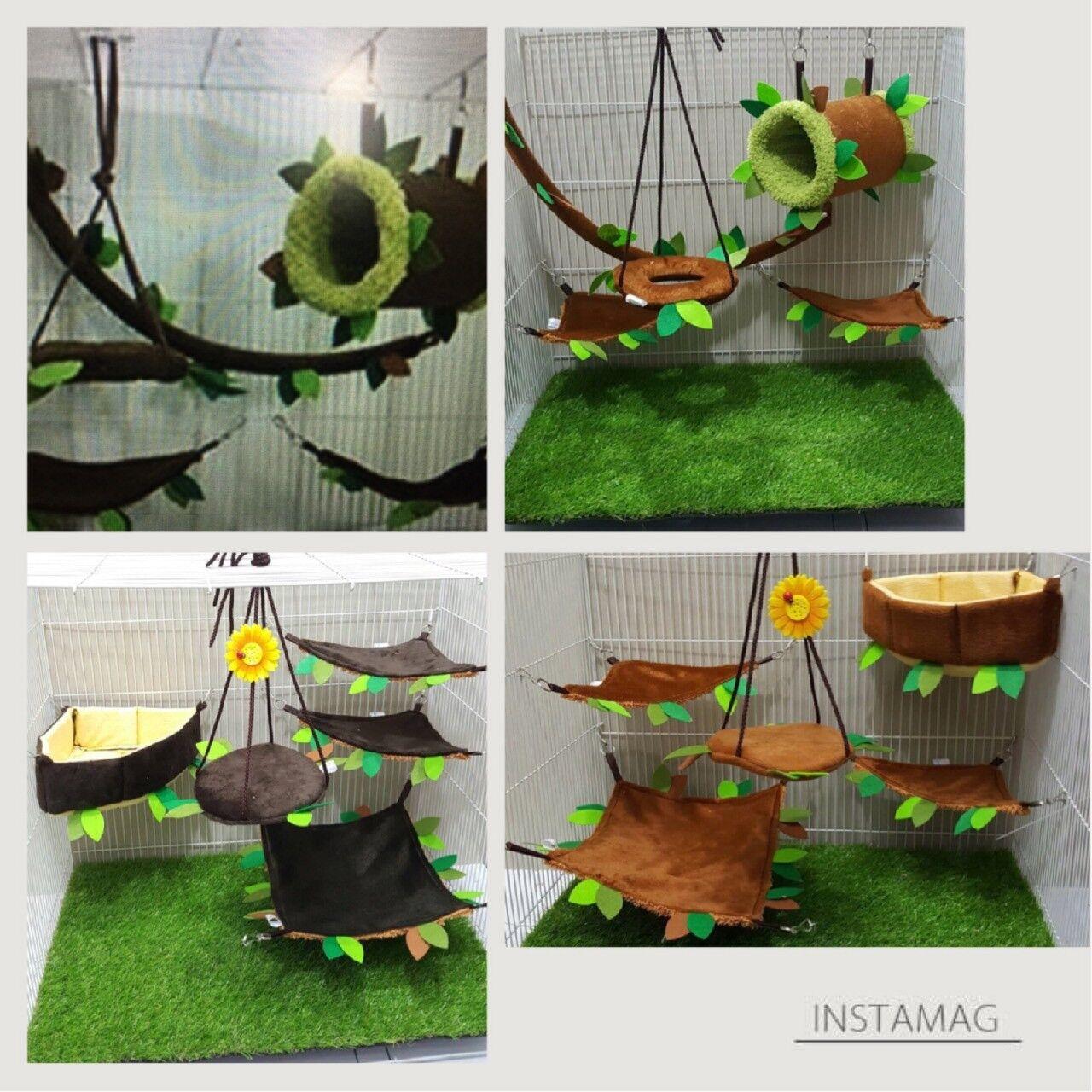 4 Sets     5 Pcs Sugar Glider Cage Set Tunnel Bed 2 Sets, Cushion Bed 2 Sets.