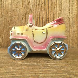 Vintage-Shawnee-USA-Pottery-Antique-Car-Planter-506-Pink-Blue-Yellow-Gold-Trim
