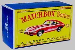 Matchbox-Lesney-32-JAGUAR-E-TYPE-empty-Repro-D-style-Box