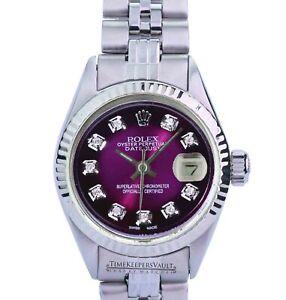 Rolex-Lady-Datejust-Purple-Diamond-Dial-Fluted-Bezel-26mm-Folded-Band-Watch