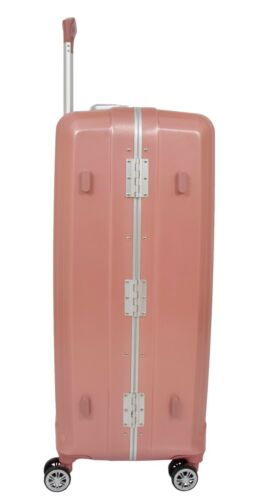 Luxurious Suitcase Rose Gold Hard Shell 4 Wheels Luggage Metal Frame Travel Bags
