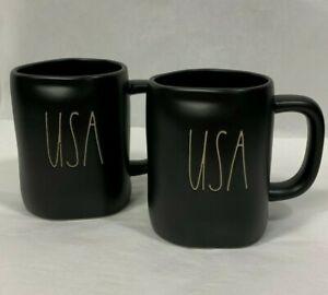 Set-of-2-Rae-Dunn-USA-Mug-Patriotic-July-4-Black-Mug-LL-Lettering-Coffee-Tea-Cup