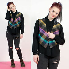 WOMENS VTG 90'S BLACK WAISTCOAT ATTACHED CHECK PLAID OVERSIZE SHIRT BLOUSE 10