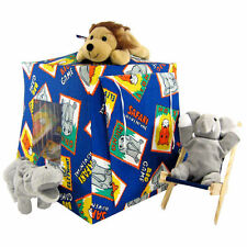 Blue, Safari print Toy Play Folding Camping Tent, 2 Sleeping Bags, handmade
