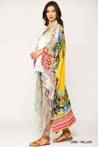 New Gigio By Umgee Duster Kimono L Large Floral Paisley Tie Sleeve Oversize