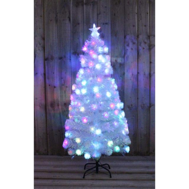 3ft White Christmas Tree.Kingfisher 3ft White Rainbow Pre Lit Christmas Tree Fibre Optic Led Decoration