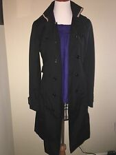 New Burberry London Black Belted Long Trench Coat Nova Check 14 Made in England