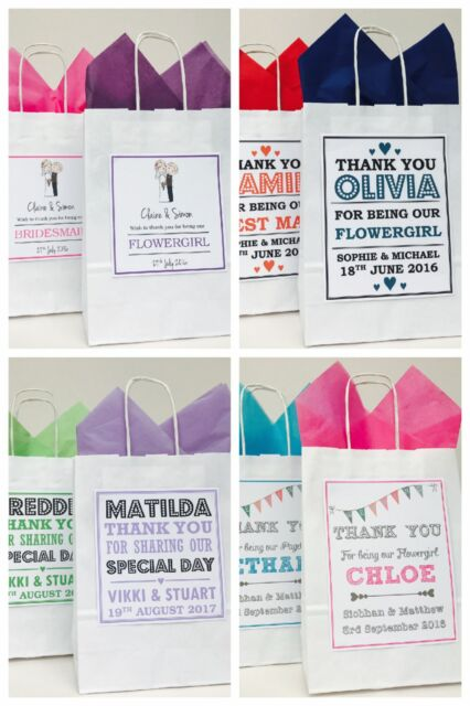 PERSONALISED WHITE PAPER WEDDING FAVOUR PARTY GIFT BAGS VARIOUS DESIGNS