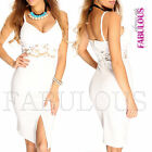 New Sexy Padded Crochet Summer Dress Front Split Slit Size 6 8 10 12 XS S M L