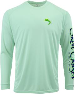 Long Sleeve White Mahi UPF 50 Microfiber Performance Fishing Shirt