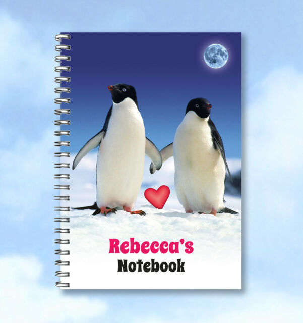 Personalised A6 Notebook Monty and Mabel Penguin-  add any Name