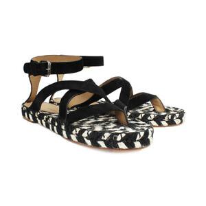 Proenza-Schouler-Black-Cream-Espadrilles-Suede-Rope-Sandals-IT36-UK3