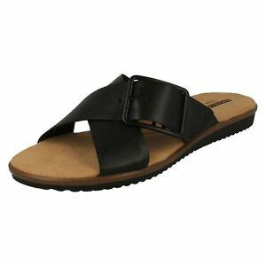 a070f597e Image is loading Ladies-Clarks-Kele-Heather-Black-Leather-Casual-Mule-