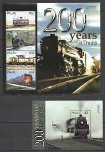 AB0194-PALAU-TRANSPORT-200-YEARS-OF-TRAINS-1KB-1BL-MNH