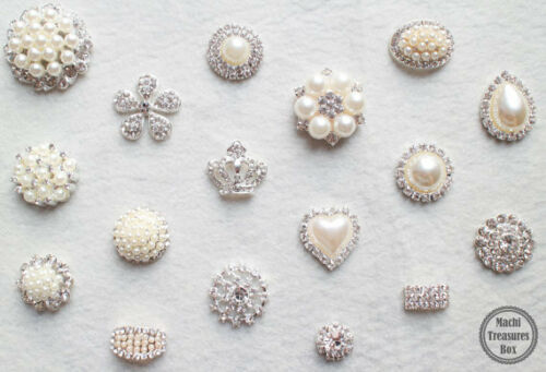 10 Assorted Mix Lot Pearl Rhinestone Silver Base Flat back Brooches Button