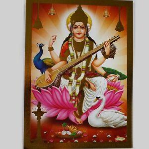 Retablo-Sarasvati-Repujado-India-Hinduismo-Imagen-Guru-Puja-Om-21