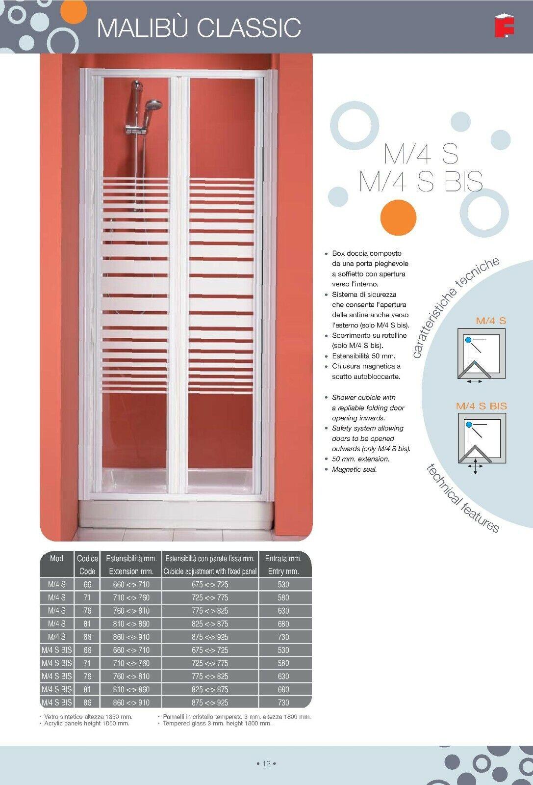 BOX PORTA PER DOCCIA SOFFIETTO MADE IN ITALY SERIE MALIBU' CLASSIC 3MM