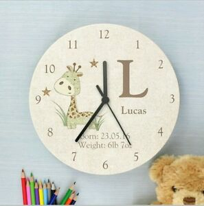 Childrens-Personalised-Giraffe-Wooden-Bedroom-Clock-Add-Name-and-Message
