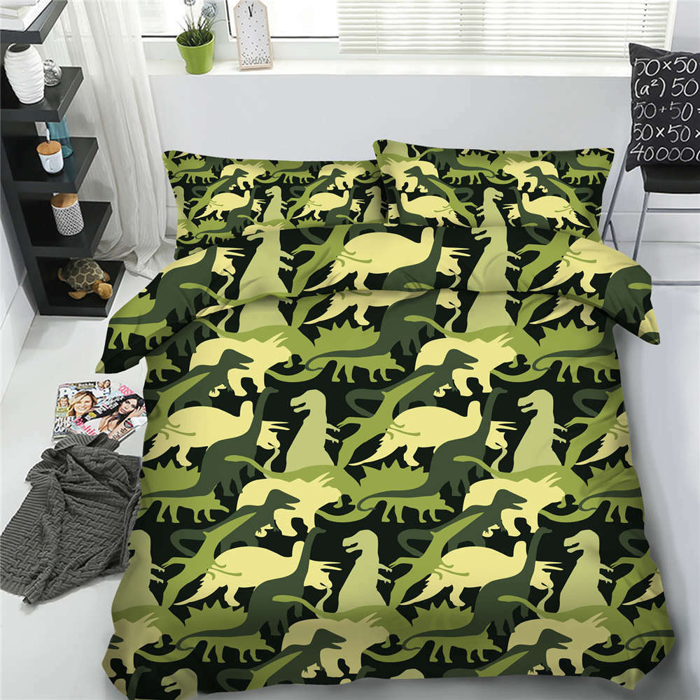 Green Dinosaur 3D Printing Duvet Quilt Doona Covers Pillow Case Bedding Sets