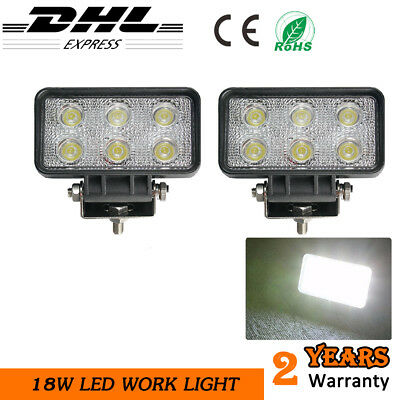 4x4//Boat//Driving//Truck//Caravan//Deck Lights 2 x 18W LED ROUND FLOOD//WORK LAMP