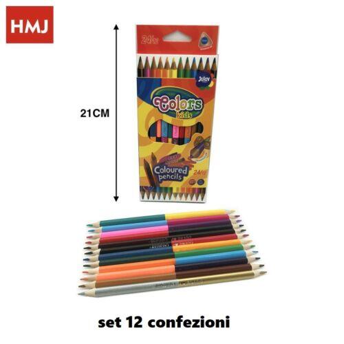 Set 144 Pezzi Pastelli Colorati Punta Doppia Disegni Colori Bambini Scuola hmj