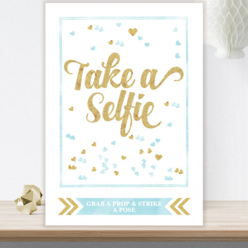 Photo Booth Selfie Station Sign Glitter Effect Wedding Party Props Pink Blue GL3