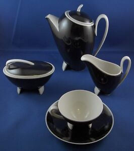 German-Art-Deco-Eames-Era-Porcelain-Black-amp-White-Set-Porzellan-Service-Germany
