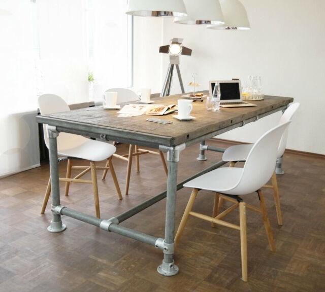 Gartentisch Holz Weiß Vintage.Tisch Industrie Stil Massiv Modern Gerüst Holz Esstisch Vintage Gartentisch