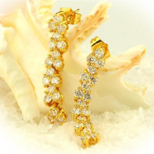 Conector aretes circonita blanco real 750 oro 18 quilates dorado dorado o2292