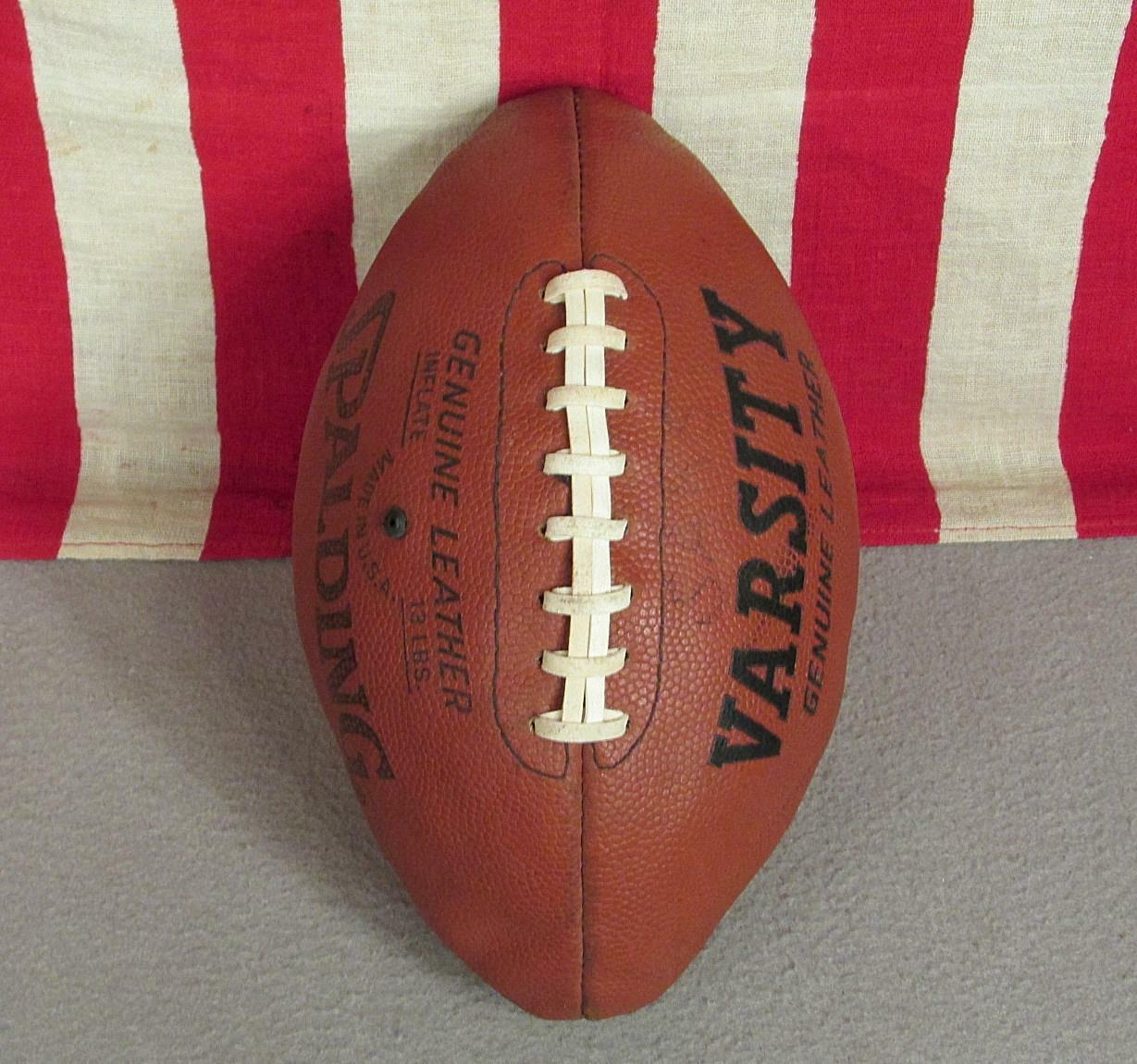 Vintage Spalding Varsity Genuine Leather Football w  Laces Great Display Ball
